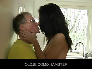 Young unreserved fucks hard get under one's Old man with regard to get under one's kitchen