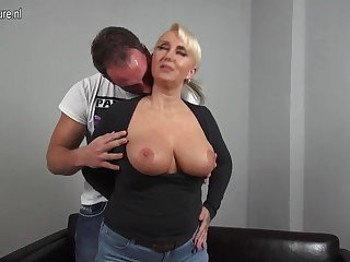 Sexy chubby breasted German mom fucking young boy