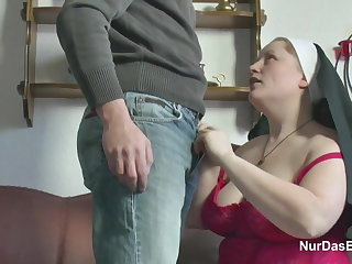 German Young Boy jolly along Granny Nun around Fuck Him