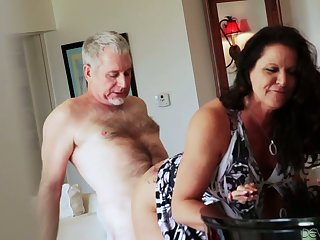 Bootyful with an increment of big tittied cougar Leylani Wood goes wild on a hard dick with an increment of gets doggy fucked