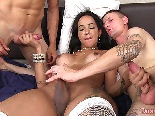 Big Booty Tranny Deborah Tavares Handles Two Hard Cocks insist