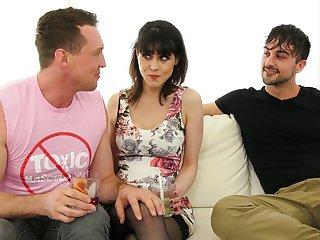 Juggy brunette Audrey Noir and yoke bisexual dudes enjoy steamy threesome sex