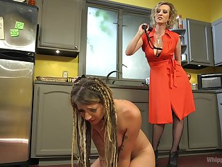 Reddish Torn with an increment of her of a female lesbian partner goat long dildo on the floor