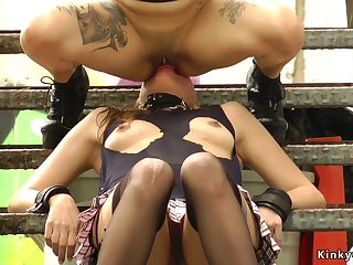 Very Hot slave gets facesitting outdoor