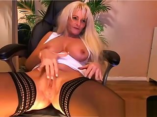 Big knocker blonde mature playing on cam - Part II