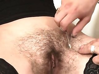 Stud ravages unshaved girl from behind while she standing fitfully trims her labia unorthodox sex