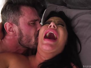 Ebony haired mummy with fat boobies is boinking a fortunate stud, instead of her hubby