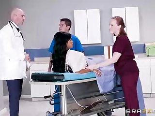 Chesty dark-hued woman with a adorable tat, Mary Jean is taking her doctor's massive man-meat, in his office