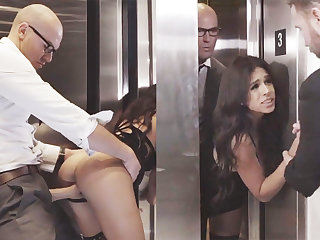 Dodgy GF cheating with her big-dicked boss in an elevator