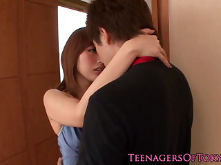 Awesome japanese teen babe fucking at residence