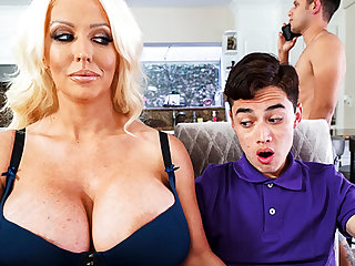 Busty stepmom interested beside leaning schoolboy's dick