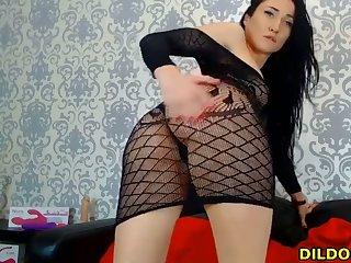 lovely amateur in fishnet fucks her pussy live