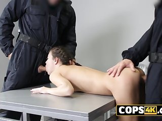 Sultry crime piece of baggage loves tasting the jail officer's male saloon