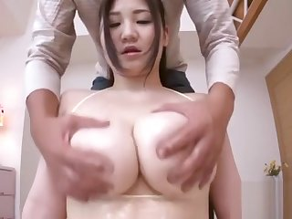 Sexy Japanese Wench Uses Her Large Tits To Have Some Joy