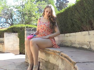 Brunette in a sundress turns on say no to toy and plays completed