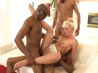 Two black dudes double teaming a tight blonde whirlwind