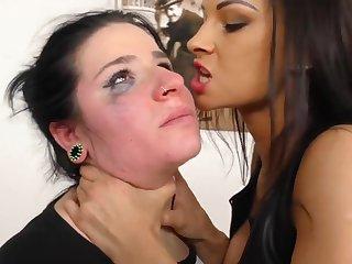 Lezdom Unending Slapping and Spitting - fetish intercourse