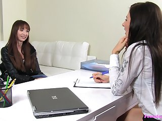 Cute petite girl Chelsy Sun gets her pussy fucked by a female agent
