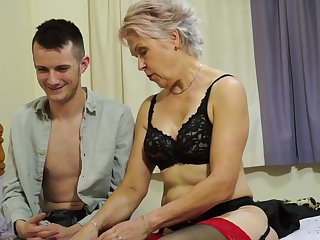 Crude mature granny Lady Sextaxy teaches an younger dude about coitus