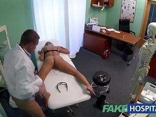 Slim ash-blonde stunner gets finger poked by kinky medic sex tube