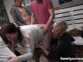 Bodily mature sluts group sex party