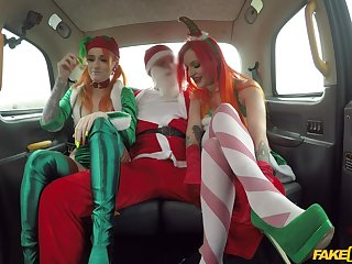 Christmas threeway in a taxi with festive gals Alexxa Clip together and Azura Alii