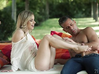 Gorgeous Nesty uses her sexy feet on a shaft during a round be fitting of rough sex