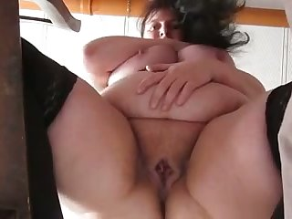 This mature whore has some careful big belly and she masturbates like a pro
