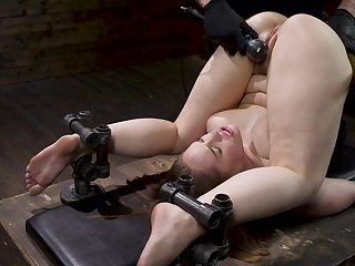 Gagged babe ends up being pain in the neck fucked in merciless BDSM
