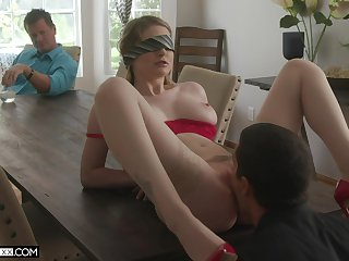 Cuckold with put emphasize blind folded wife