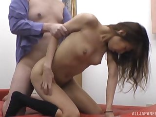 Hardcore fucking on the sofa all over small tits Asian toddler Nishikawa Rion