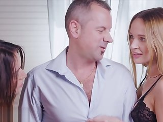Nub Gorgeous Brunettes Seduce Professor in Anal Threesome
